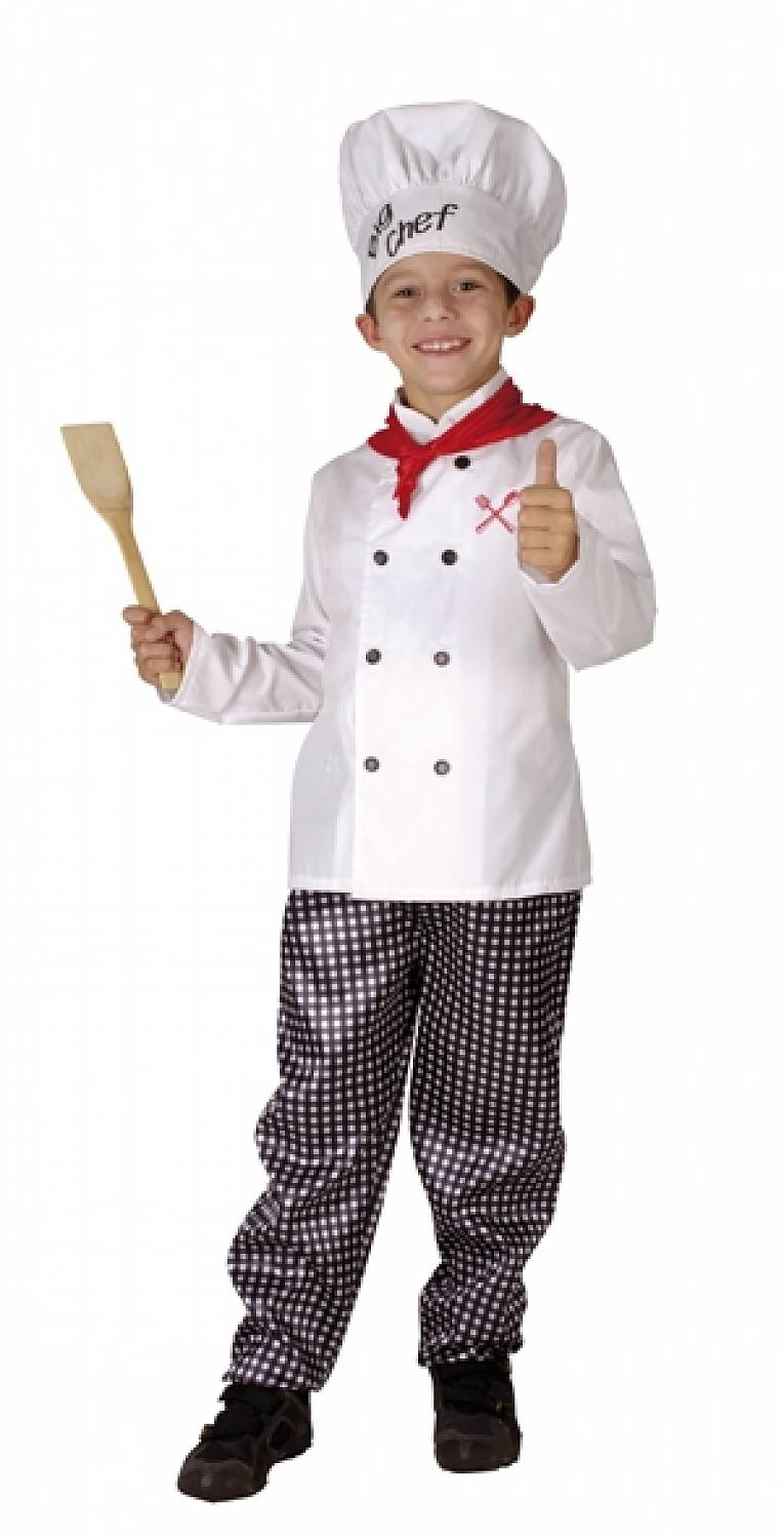 Child Chef Costume. The poplin jacket and gingham pants, when topped off with the Chef's toque hat, make for an adorable outfit. Instead of merely eating all the different sweets he gathers this year, your kiddo can kick things up a notch and use different candies as .