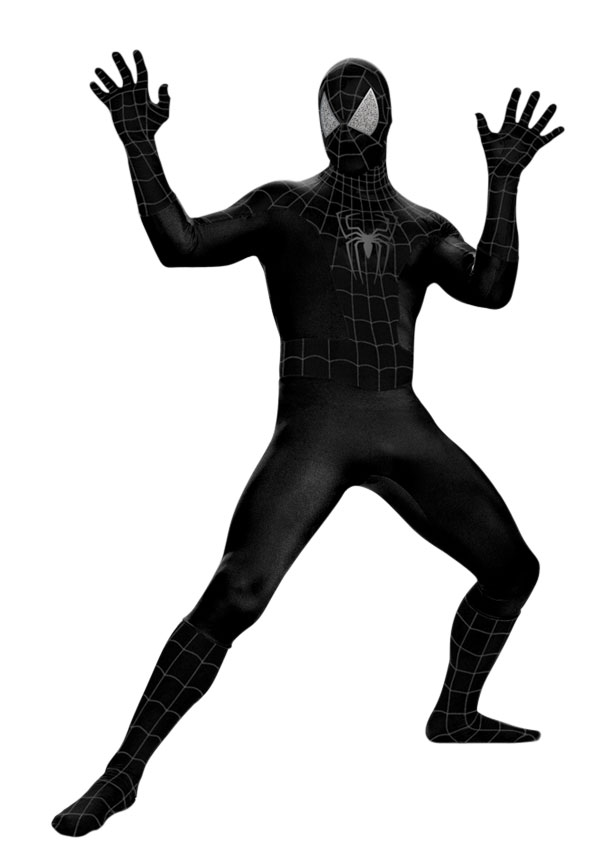 Deluxe Adult Black Muscle Chest Spider-man Costume | Size Men's () Product - Mens Dumb And Dumber Orange Tuxedo With Jacket Pants Cumberbun Costume Reduced Price.