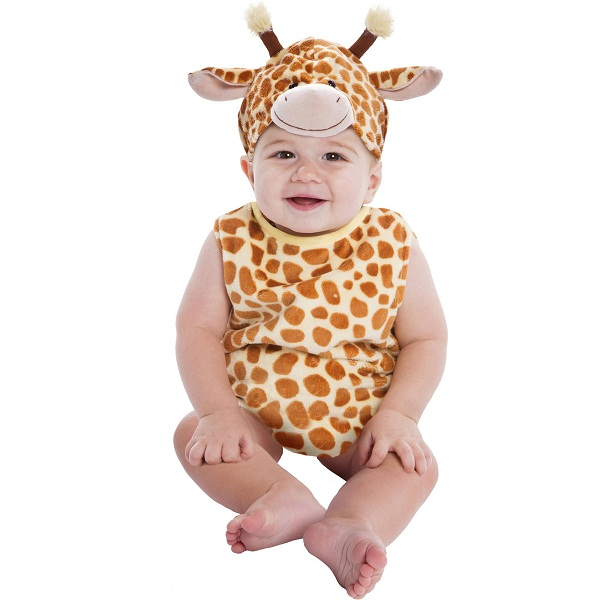 The Giraffe Costume for babies includes a jumpsuit, a hood, and booties with a giraffe print! Necks will turn when they see your little one in this baby animal costume.